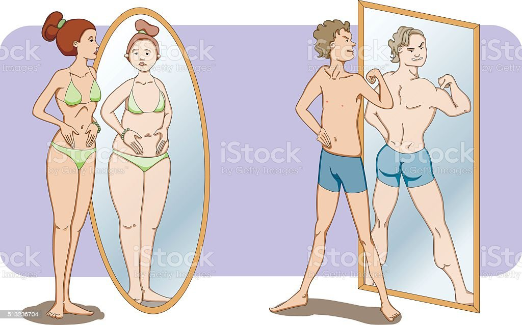 Men and women self-conceptions vector art illustration