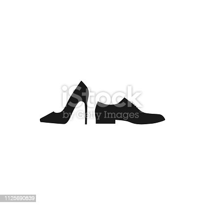 Men and women shoe silhouette profile icons. Female and male shoes vector isolated icon set.