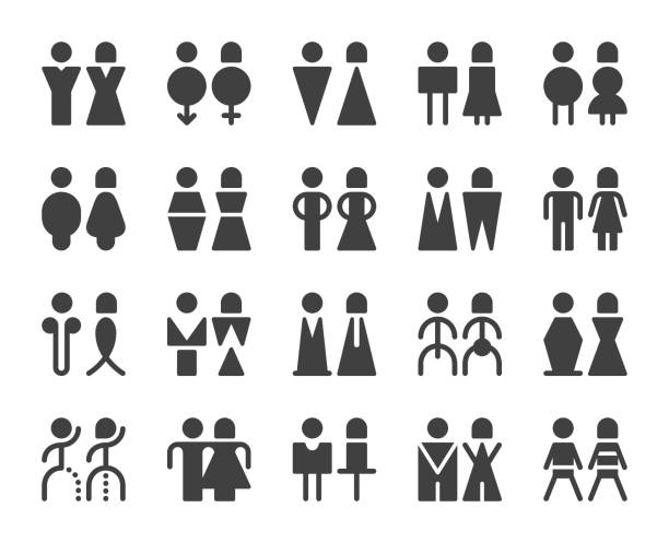 men and women sign - icons - old man sex silhouette stock illustrations, clip art, cartoons, & icons