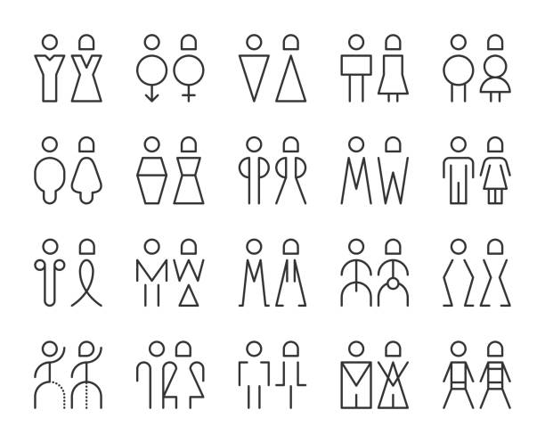 men and women sign - light line icons - old man sex clip art stock illustrations, clip art, cartoons, & icons