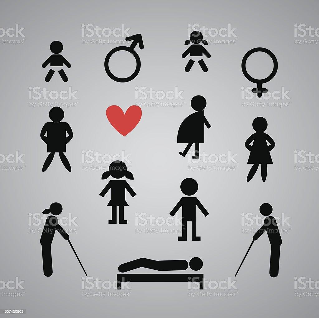 men and women signs vector art illustration