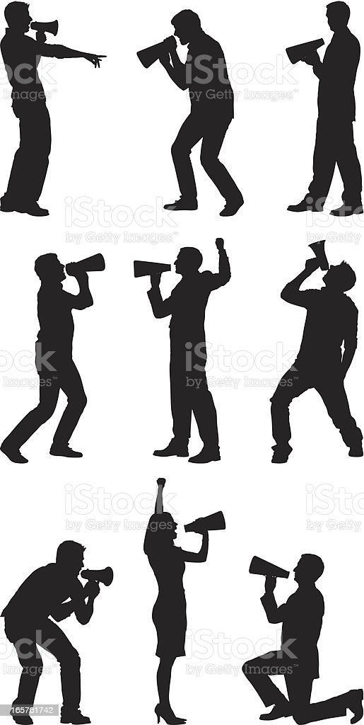 Men and women silhouettes shouting into megaphones royalty-free stock vector art