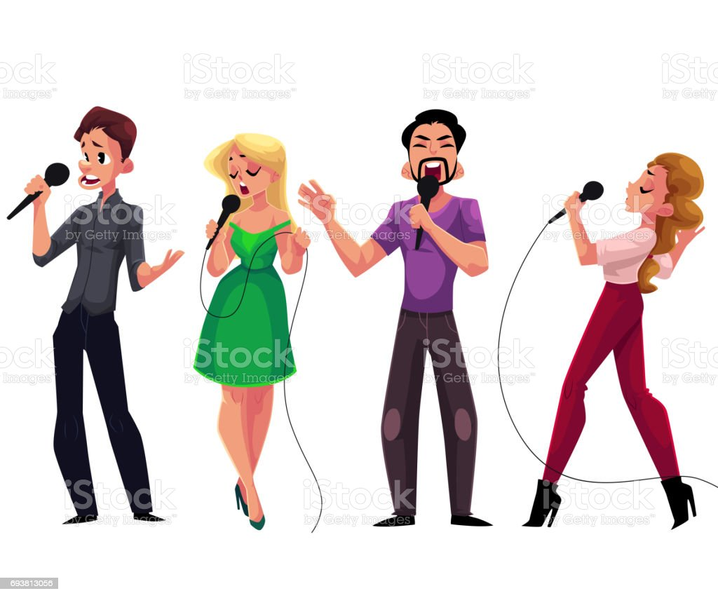 Men and women singing karaoke, holding microphones - competition, party, celebration vector art illustration