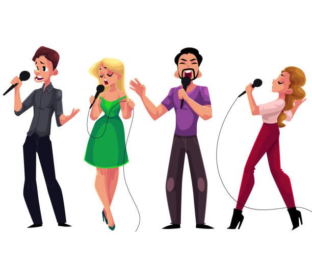 stockillustraties, clipart, cartoons en iconen met mannen en vrouwen karaoke zingen, houden van microfoons - competitie, party, viering - zanger