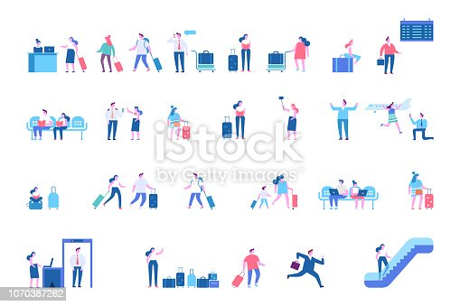 istock Men and women sitting and walking in airport terminal big vector set. 1070387262