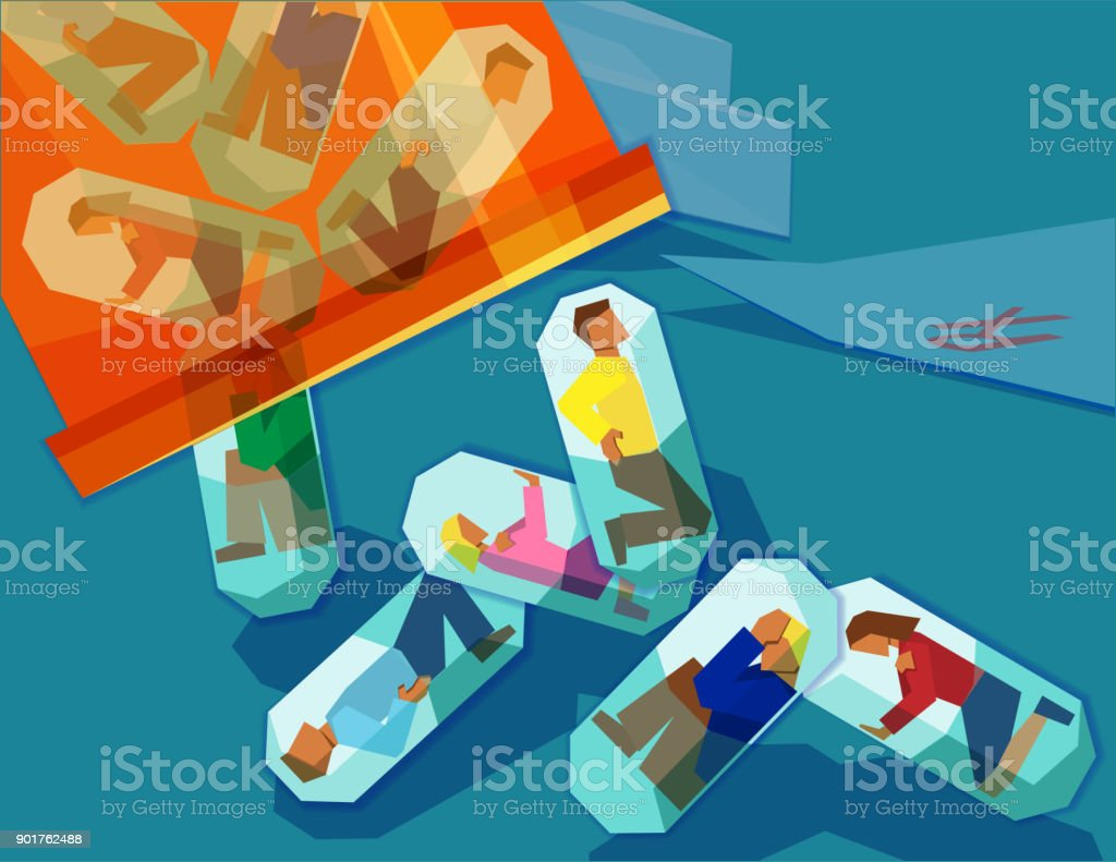 men and women suffering with pain trapped inside pill capsules - prescription drug addiction concept vector art illustration