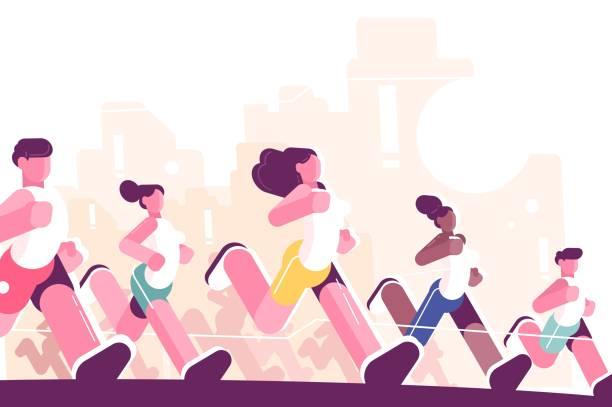 bildbanksillustrationer, clip art samt tecknat material och ikoner med män och kvinnor som utbildar sig till marathon i park - jogging hill