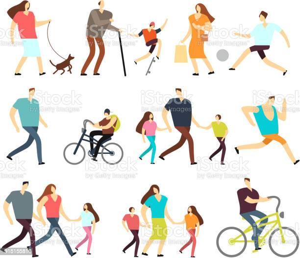 Men and women walking outdoor vector cartoon active characters in vector id915155816?b=1&k=6&m=915155816&s=612x612&h=abm21byivp knkybnoxydjimzmyome9frps2 miiiv4=