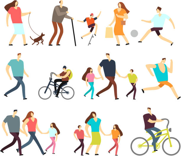 야외 산책을 남녀 설정 합니다. 벡터 만화 활성 캐릭터 거리의 다양 한 라이프 스타일에 - 가정 물건 실루엣 stock illustrations
