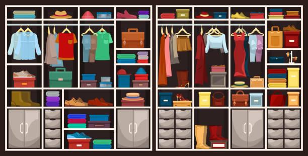 männer und frauen schränke mit kleidung, mode-design - kastenständer stock-grafiken, -clipart, -cartoons und -symbole