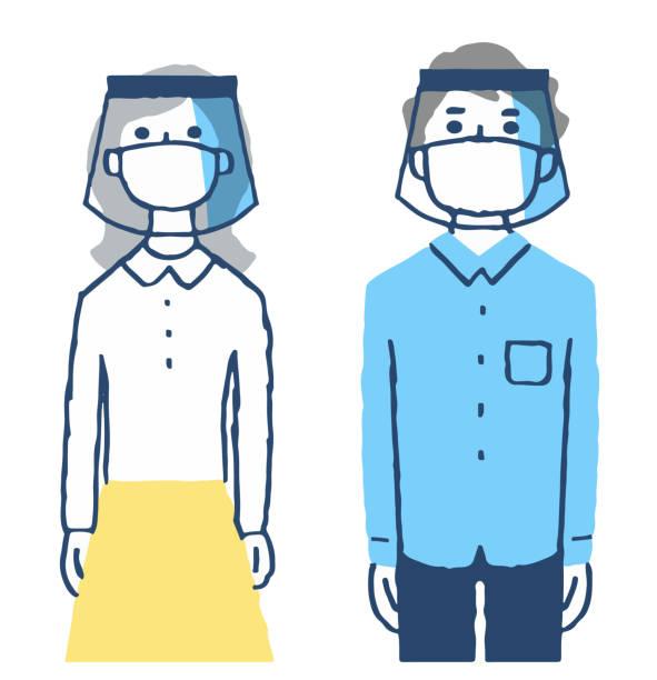 顔の盾とマスクを身に着けている男女 - マスク 日本人点のイラスト素材/クリップアート素材/マンガ素材/アイコン素材