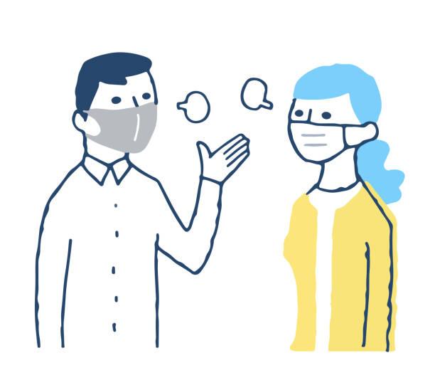 マスクを着用し、控えめな会話をする男女 - くしゃみ 日本人点のイラスト素材/クリップアート素材/マンガ素材/アイコン素材