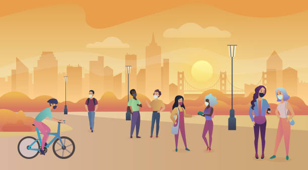Men and women wearing masks walking on the sunset park wearing a mask to prevent viruses and air pollution vector art illustration