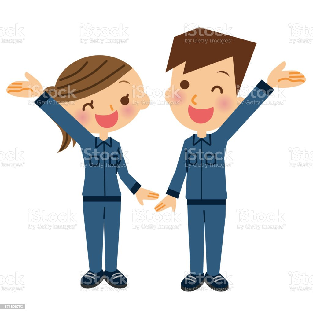 Men and women wearing work clothes. vector art illustration