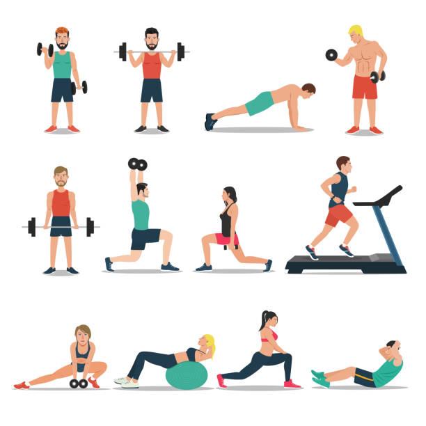 Men and women workout set isolated on white background. Cardio, weightlifting, treadmill, bodybuilding vector art illustration