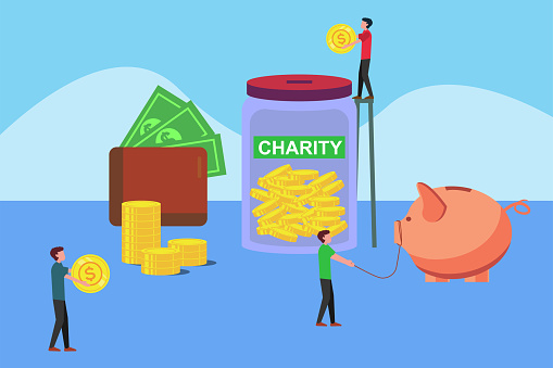 Men arranging big coins for charity vector concept