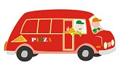 Men at car, pizza delivery, funny illustration. Vector picture. Red van with people. Isolated object.