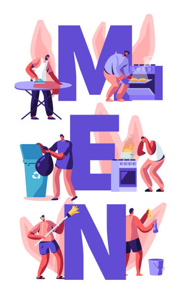 männer bei household activities concept. kehrboden, reinigung haus, bügeln, müll werfen, kochen. housekeeping aufgaben und chores poster, banner, flyer, broschüre. cartoon flache vektor-illustration - hausmannskost stock-grafiken, -clipart, -cartoons und -symbole