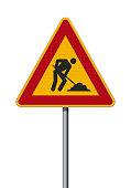 Vector illustration of the Men At Work triangular road sign on metallic post