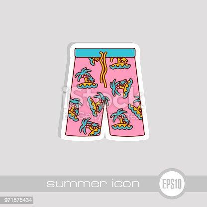 Men Beach Shorts vector icon. Beach. Summer. Summertime. Vacation, eps 10