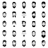 Men beards and hairstyle Icon set