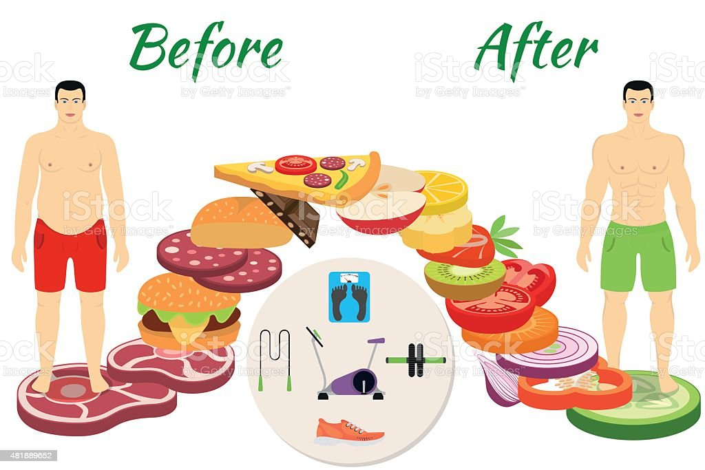 Men before and after the fitness vector art illustration