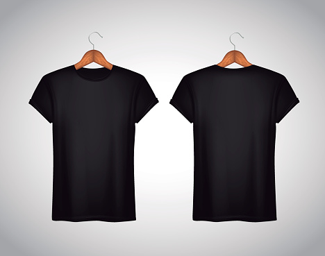 Men black T-shirt. Realistic mockup. Short sleeve T-shirt templa