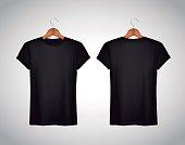 Men black T-shirt. Realistic mockup. Short sleeve T-shirt template on background.