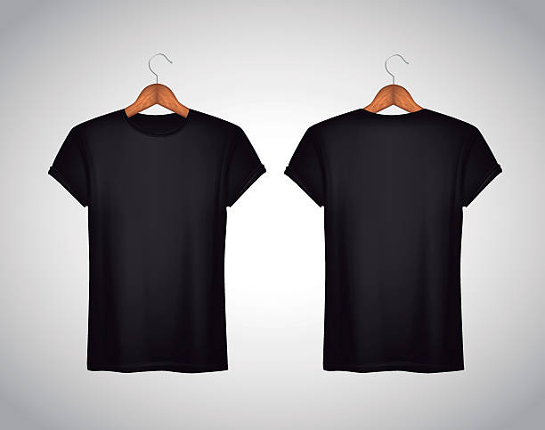 Men black T-shirt. Realistic mockup. Short sleeve T-shirt templa Men black T-shirt. Realistic mockup. Short sleeve T-shirt template on background. back stock illustrations