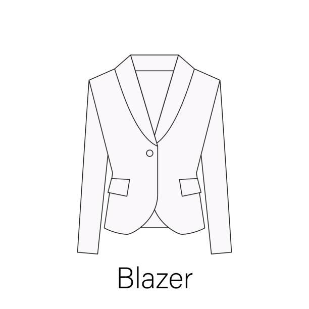 stockillustraties, clipart, cartoons en iconen met mannen blazer of jasje of pak eenvoudige platte vector symboolpictogram in lijn ontwerp. blazer illustratie voor het web, mobiele apps, design - men blazer