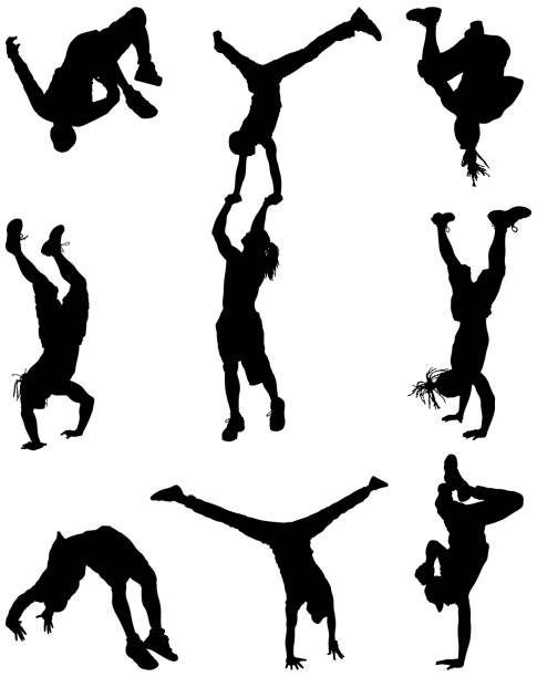 Men break dancing vector art illustration
