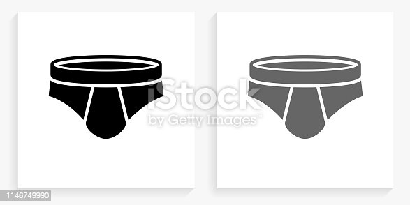 Men Briefs Black and White Square Icon. This 100% royalty free vector illustration is featuring the square button with a drop shadow and the main icon is depicted in black and in grey for a roll-over effect.