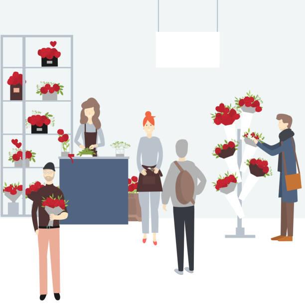ilustraciones, imágenes clip art, dibujos animados e iconos de stock de los hombres compran flores para el día de san valentín en la floristería. - conceptos y temas