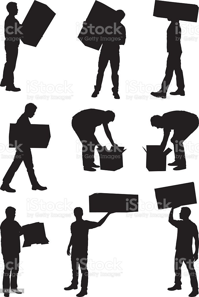 Men carrying around cardboard boxes vector art illustration