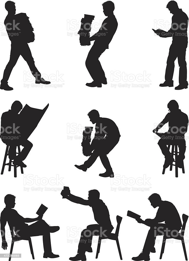 Men carrying stacks of books and reading royalty-free stock vector art