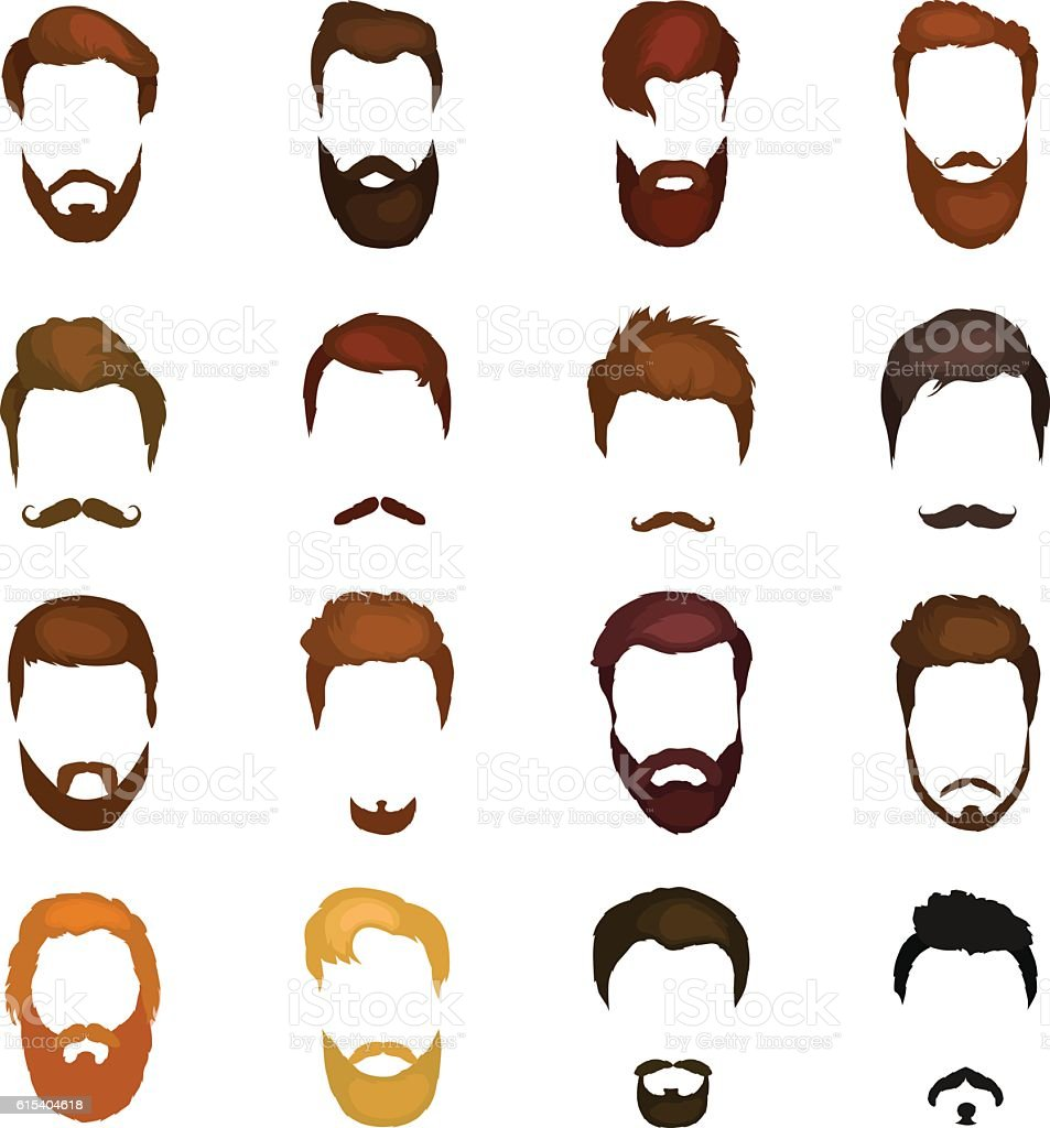 Men cartoon hairstyles with beards and mustache background. Vector illustration - ilustración de arte vectorial