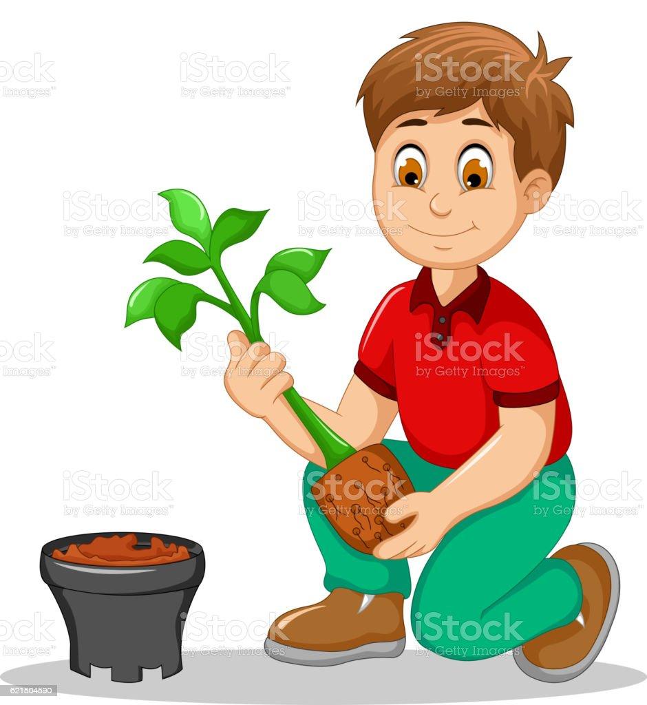 men cartoon move plant from the poly bag to pot men cartoon move plant from the poly bag to pot – cliparts vectoriels et plus d'images de cache-pot libre de droits