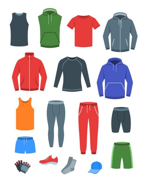 illustrazioni stock, clip art, cartoni animati e icone di tendenza di men casual clothes for fitness training flat icons - giacca
