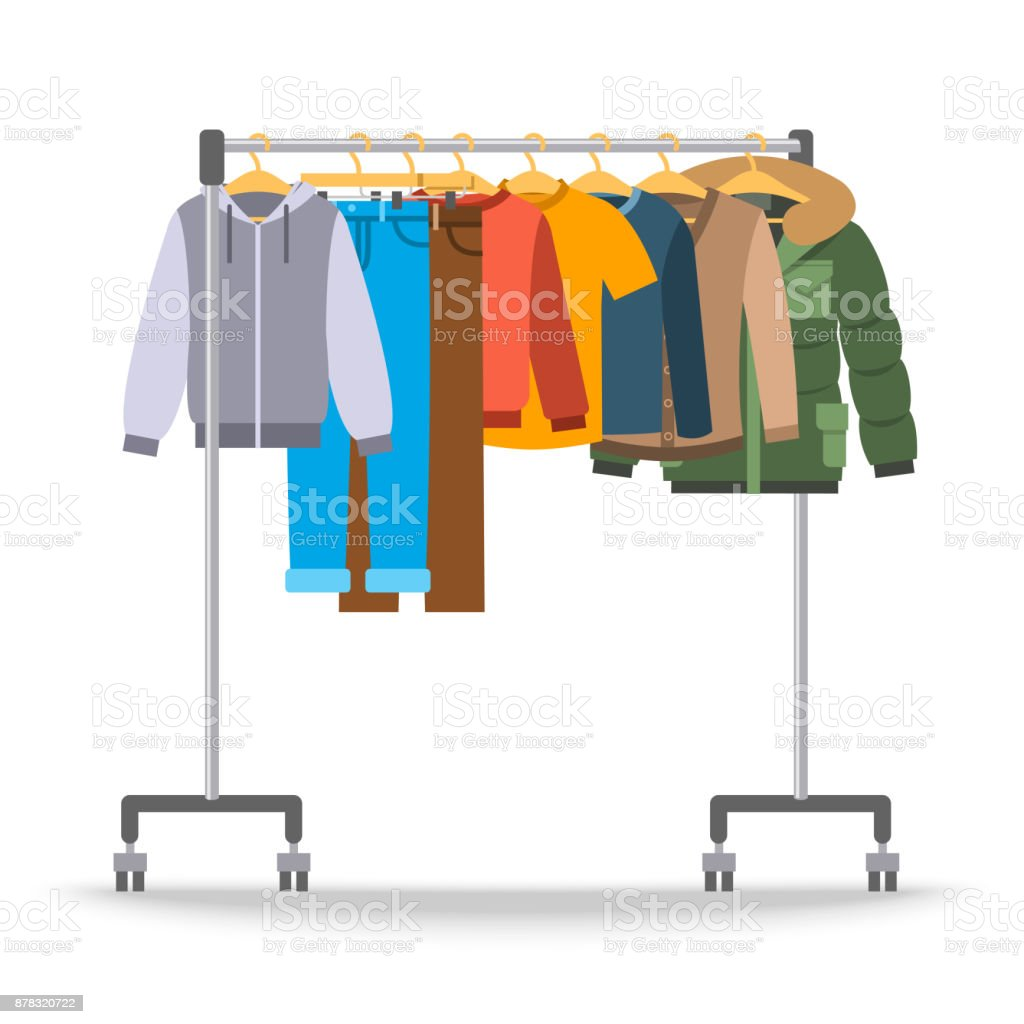 Men casual warm clothes on hanger rack vector art illustration