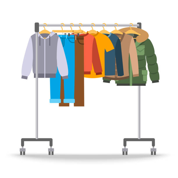 stockillustraties, clipart, cartoons en iconen met mannen casual warme kleding op hanger rek - rek
