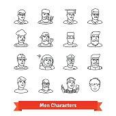 Men character avatars. Thin line art icons set