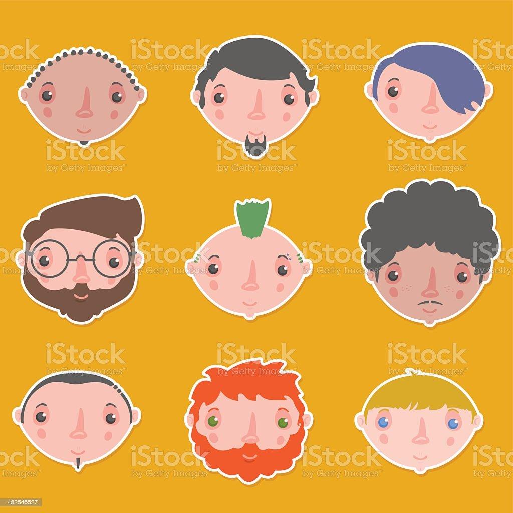 men characters set royalty-free stock vector art