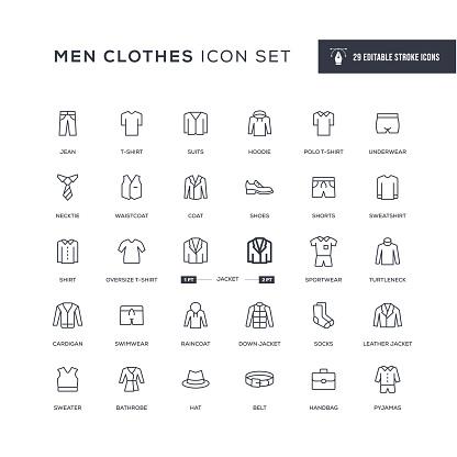 Men Clothes Editable Stroke Line Icons