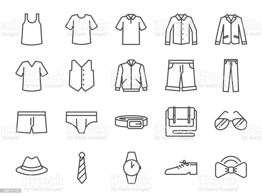 2db6aed31 Conjunto de ícones de roupas de homens. Incluídos os ícones como calções