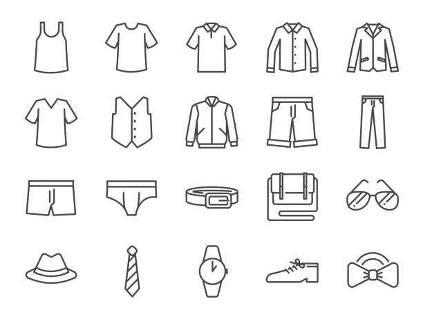 ilustrações, clipart, desenhos animados e ícones de conjunto de ícones de roupas de homens. incluídos os ícones como calções, workwear, moda, jean, camisa, calças, acessórios e muito mais. - calça comprida