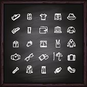 Men Clothes icons on chalkboard