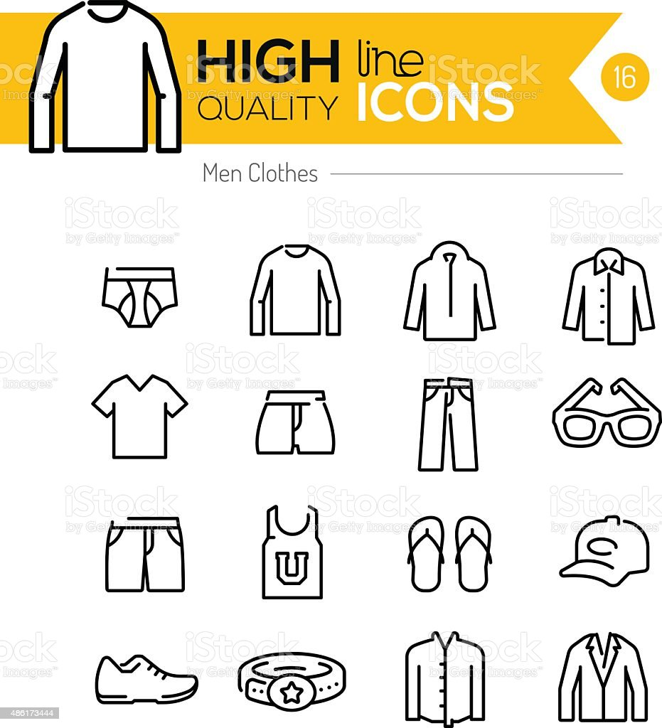 Men Clothes line icons series vector art illustration