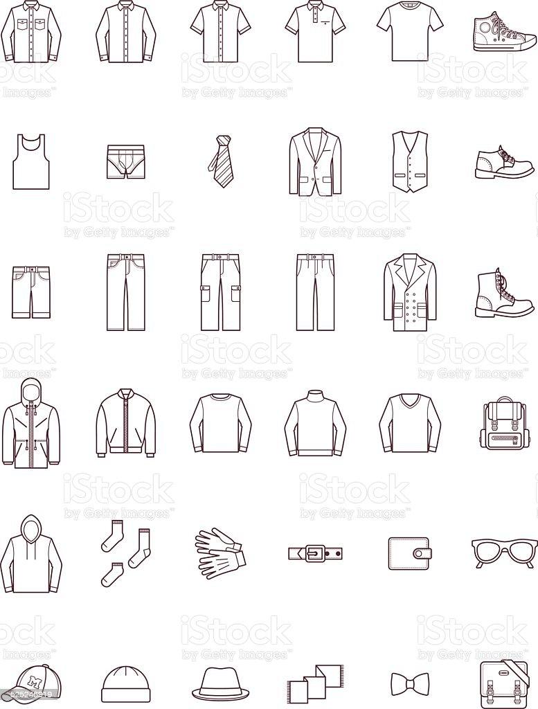Men clothes set vector art illustration