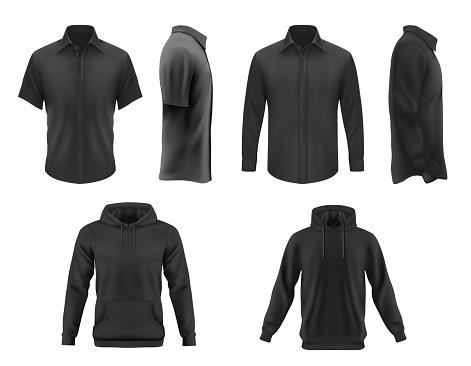 Men clothes vector tshirt, hoodie and shirts set