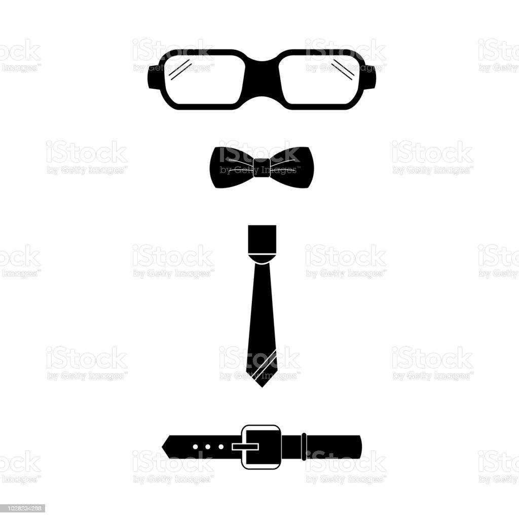 Hommes Vetements Accessoires Lunettes Arc Cravate Vector Icon